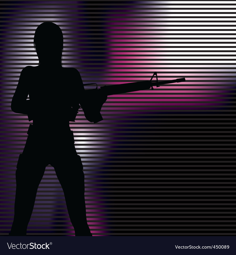 Girl with gun silhouette vector | Price: 1 Credit (USD $1)