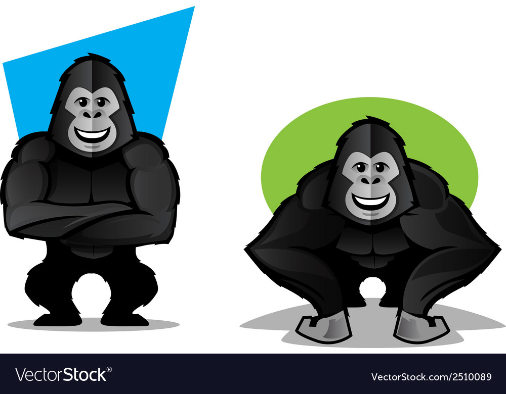 Gorilla character set vector | Price: 1 Credit (USD $1)