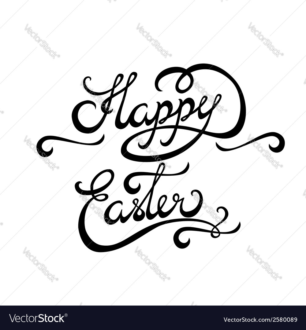 Happy easter lettering handmade calligraphy vector | Price: 1 Credit (USD $1)