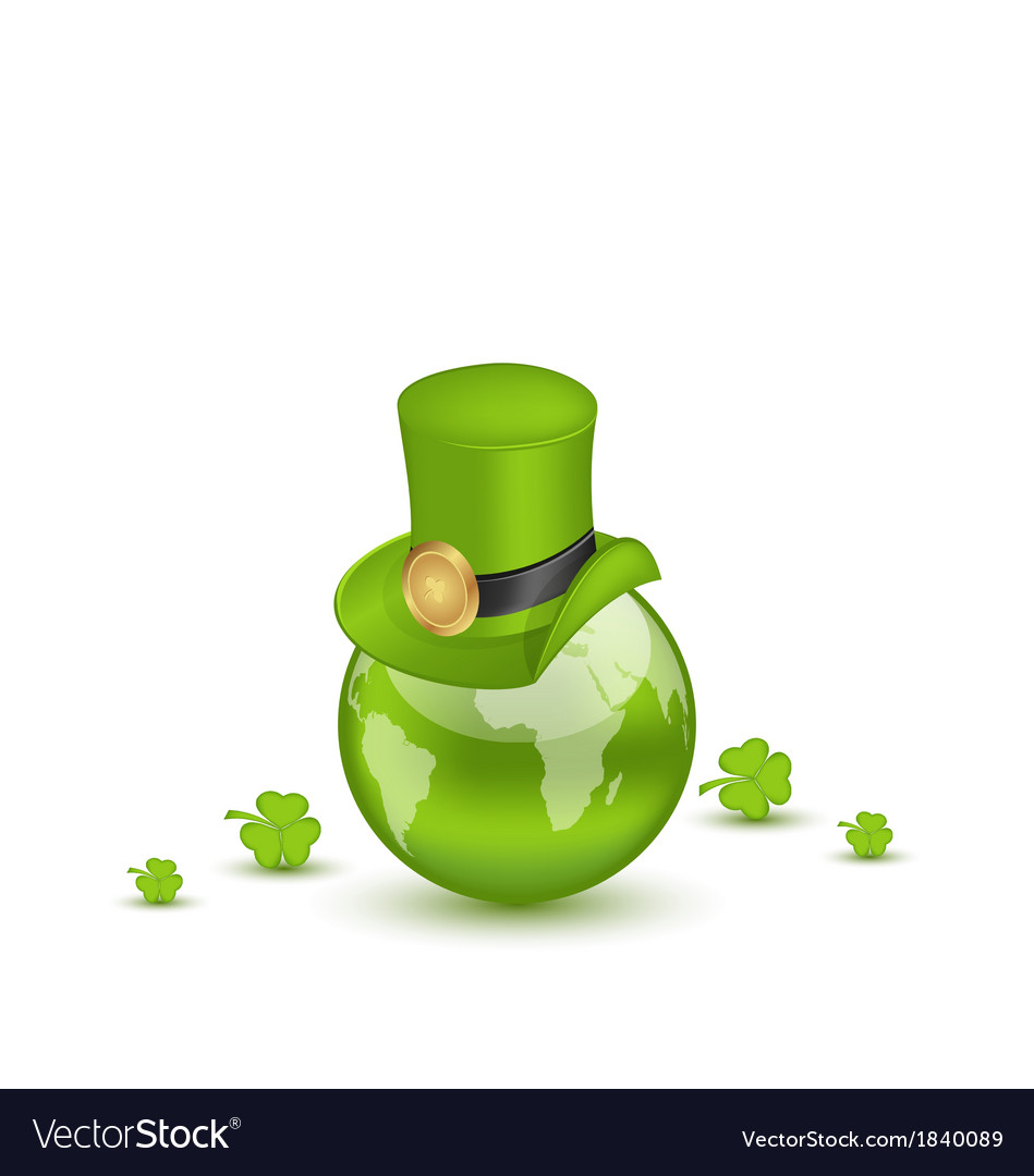 Hat and shamrocks around globe on st patricks day vector | Price: 1 Credit (USD $1)