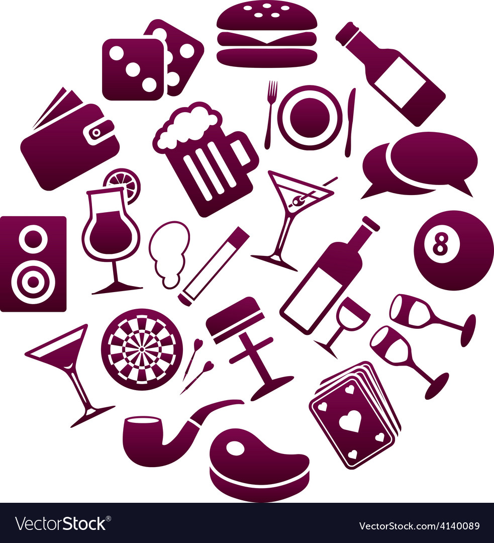 Pub icons in circle vector | Price: 1 Credit (USD $1)