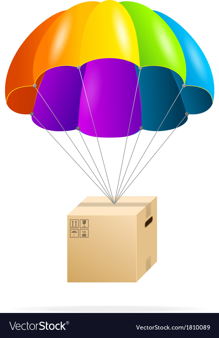 Rainbow parachute with cardboard box on a white vector | Price: 1 Credit (USD $1)