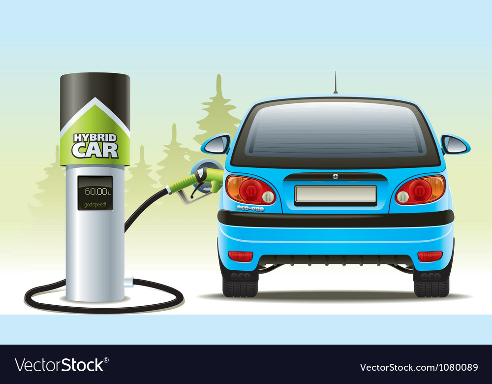Refilling a hybrid car vector | Price: 3 Credit (USD $3)