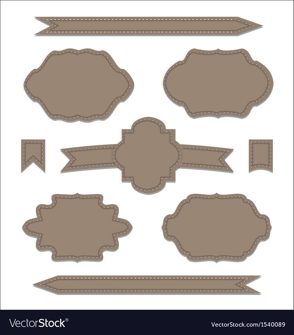 Set leather ribbons vintage labels geometric vector | Price: 1 Credit (USD $1)
