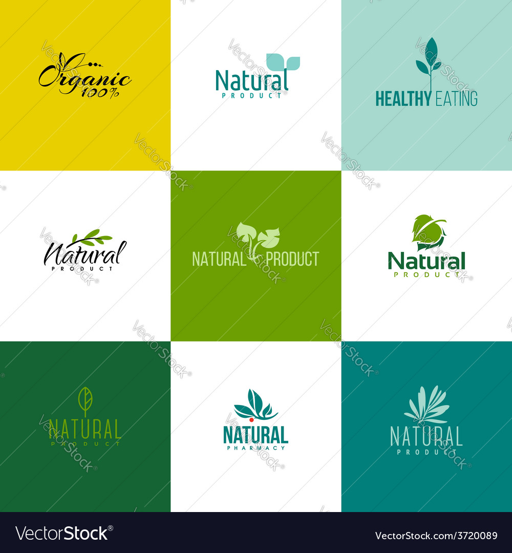Set of natural and organic products logo templates vector | Price: 1 Credit (USD $1)
