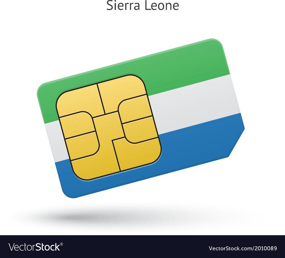 Sierra leone mobile phone sim card with flag vector | Price: 1 Credit (USD $1)