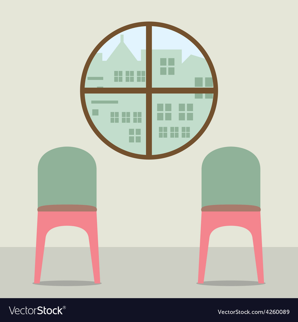 Two chairs under round window vector | Price: 1 Credit (USD $1)