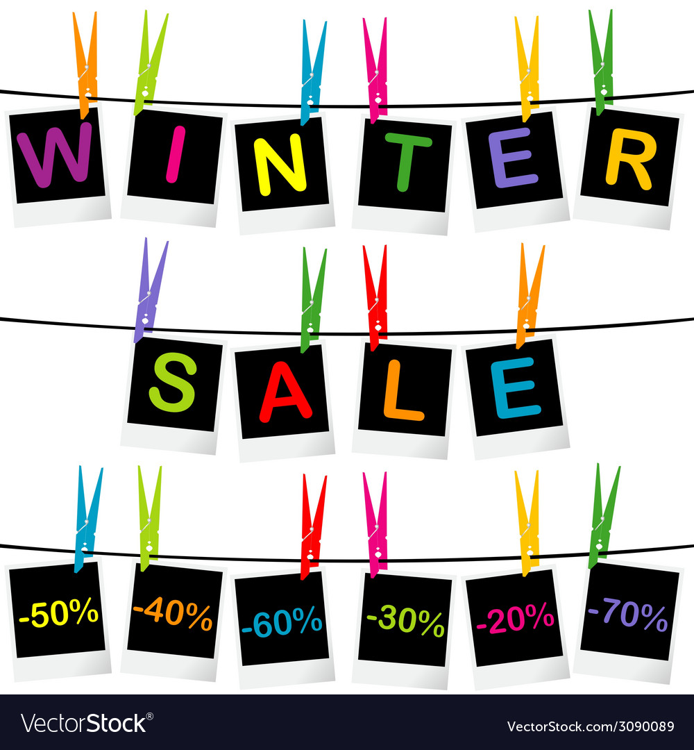 Winter sale concept with photo frames hanging on vector | Price: 1 Credit (USD $1)