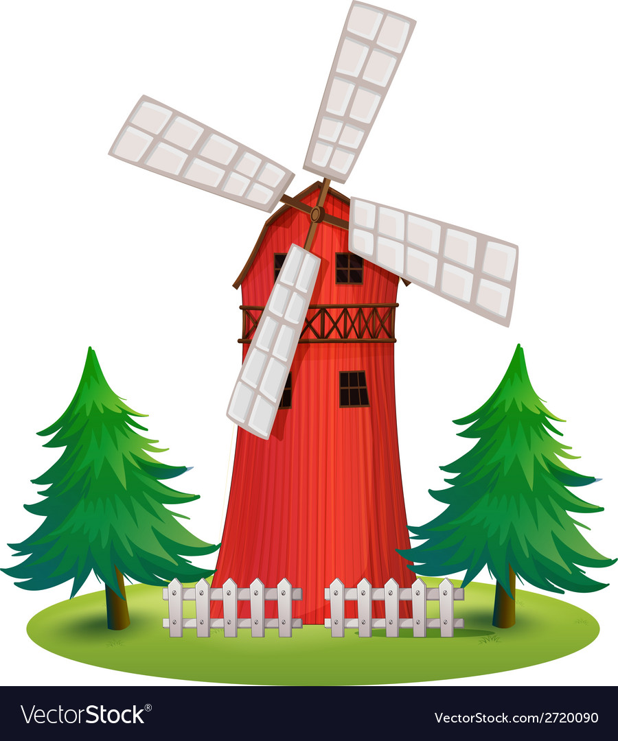 A tall wooden building with a windmill vector | Price: 1 Credit (USD $1)