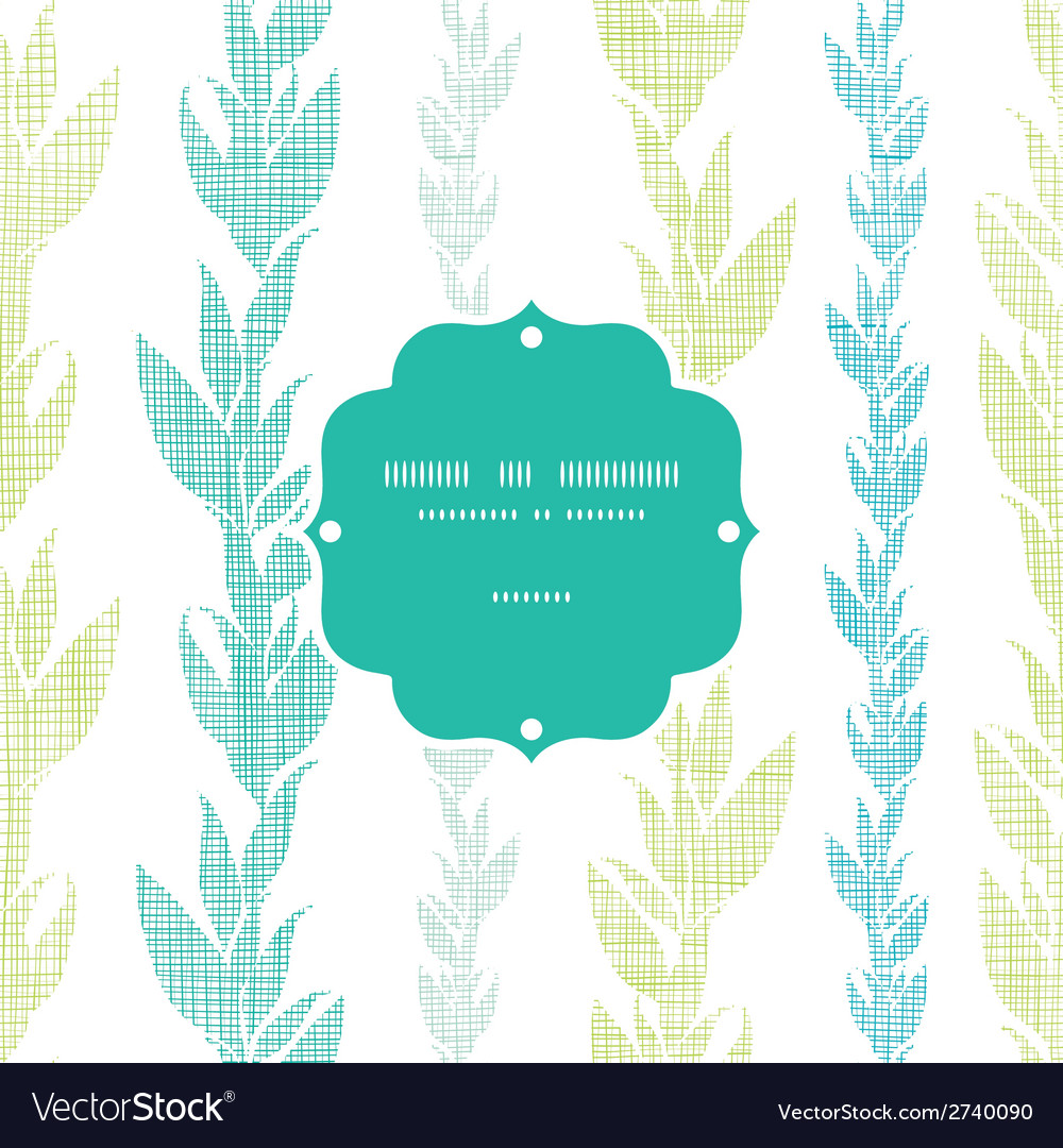 Blue green seaweed vines frame seamless pattern vector | Price: 1 Credit (USD $1)