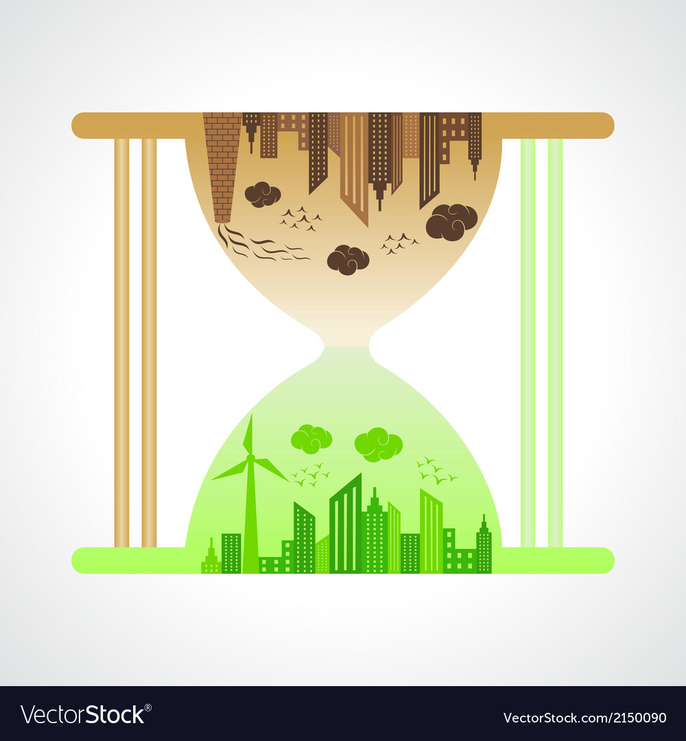 Eco and polluted city concept with sand watch vector | Price: 1 Credit (USD $1)