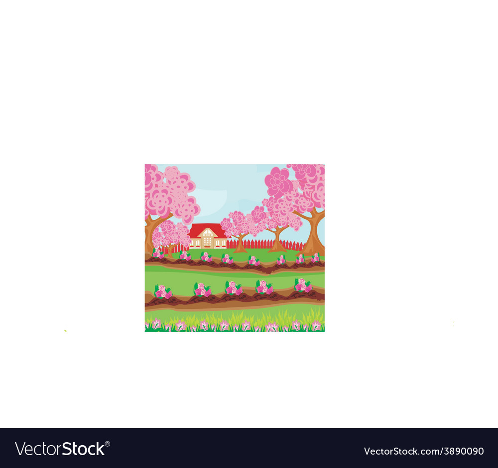 Garden full of flowers vector | Price: 1 Credit (USD $1)