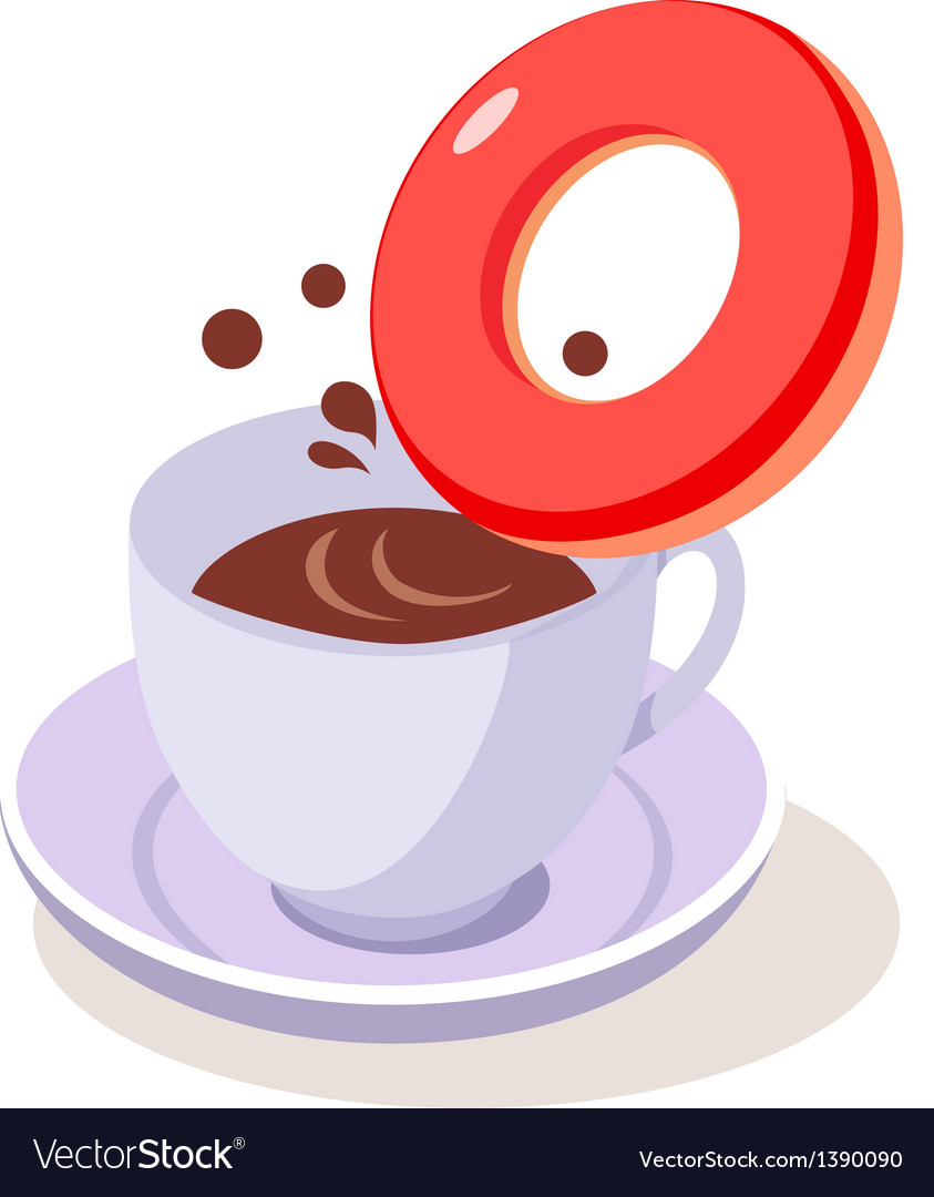 Icon coffee and doughnut vector | Price: 1 Credit (USD $1)