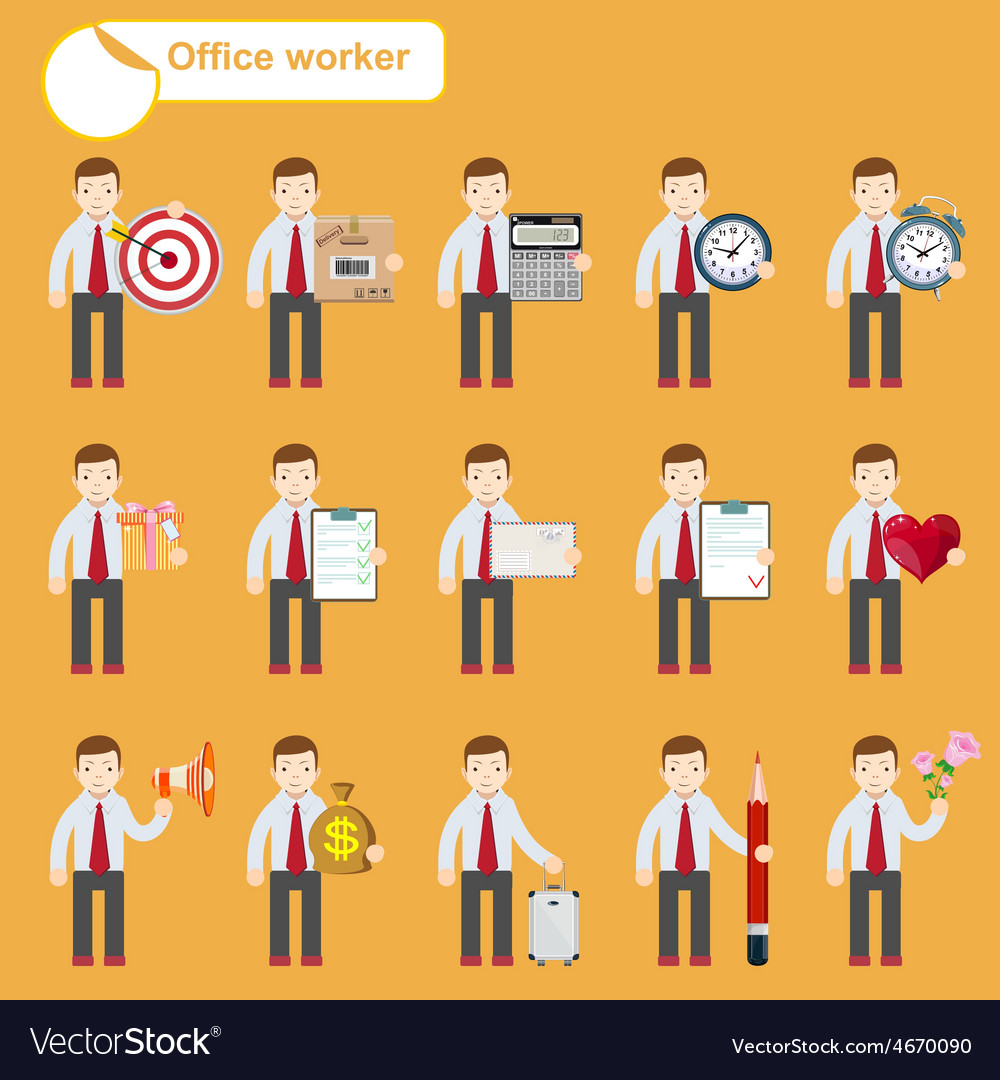 Office worker - business sketches vector | Price: 1 Credit (USD $1)