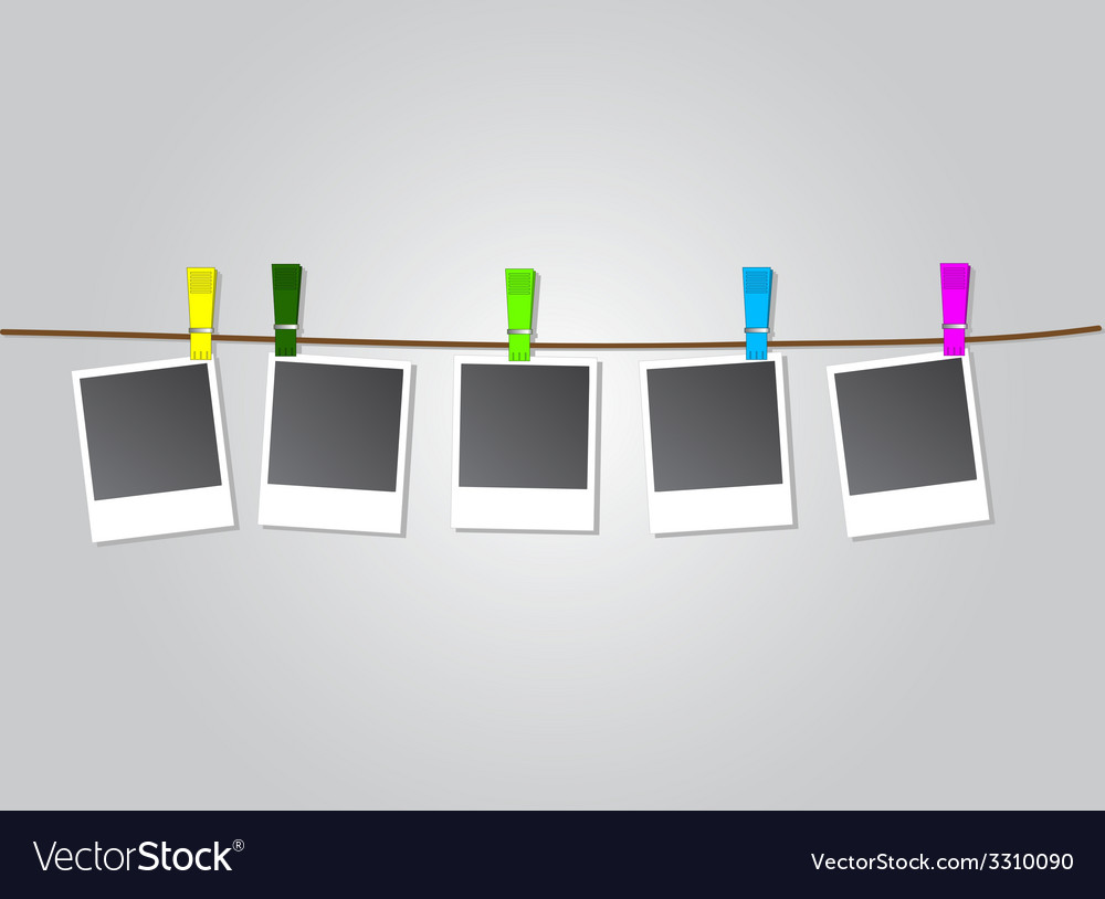 Photo frames on rope with colored clothespins vector | Price: 1 Credit (USD $1)