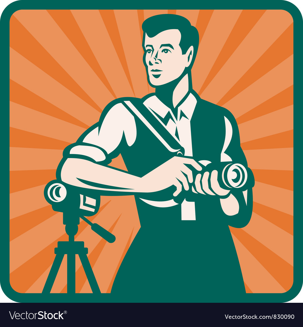Retro photographer icon vector | Price: 1 Credit (USD $1)