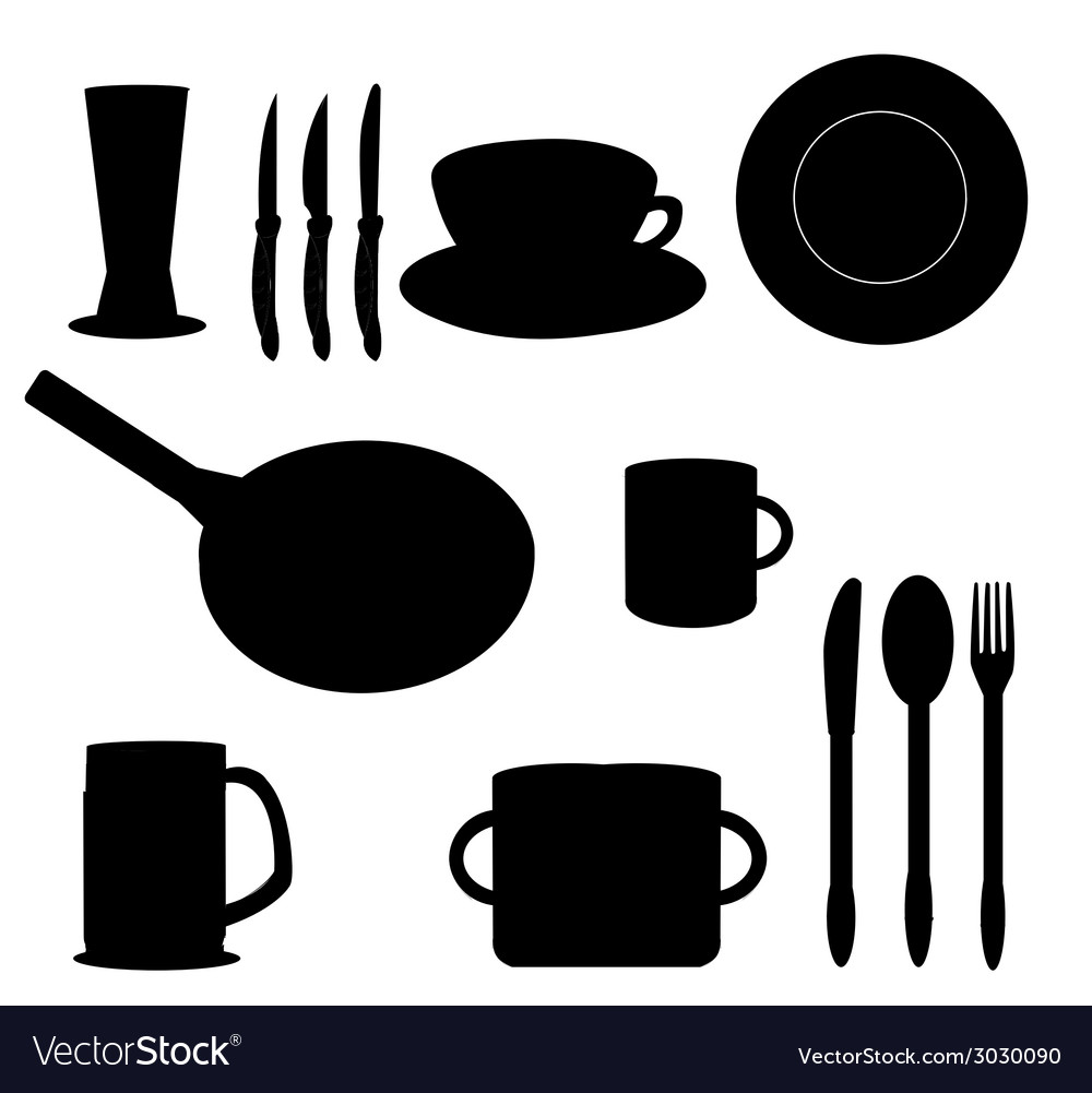 Silhouettes of kitchen accessories vector | Price: 1 Credit (USD $1)