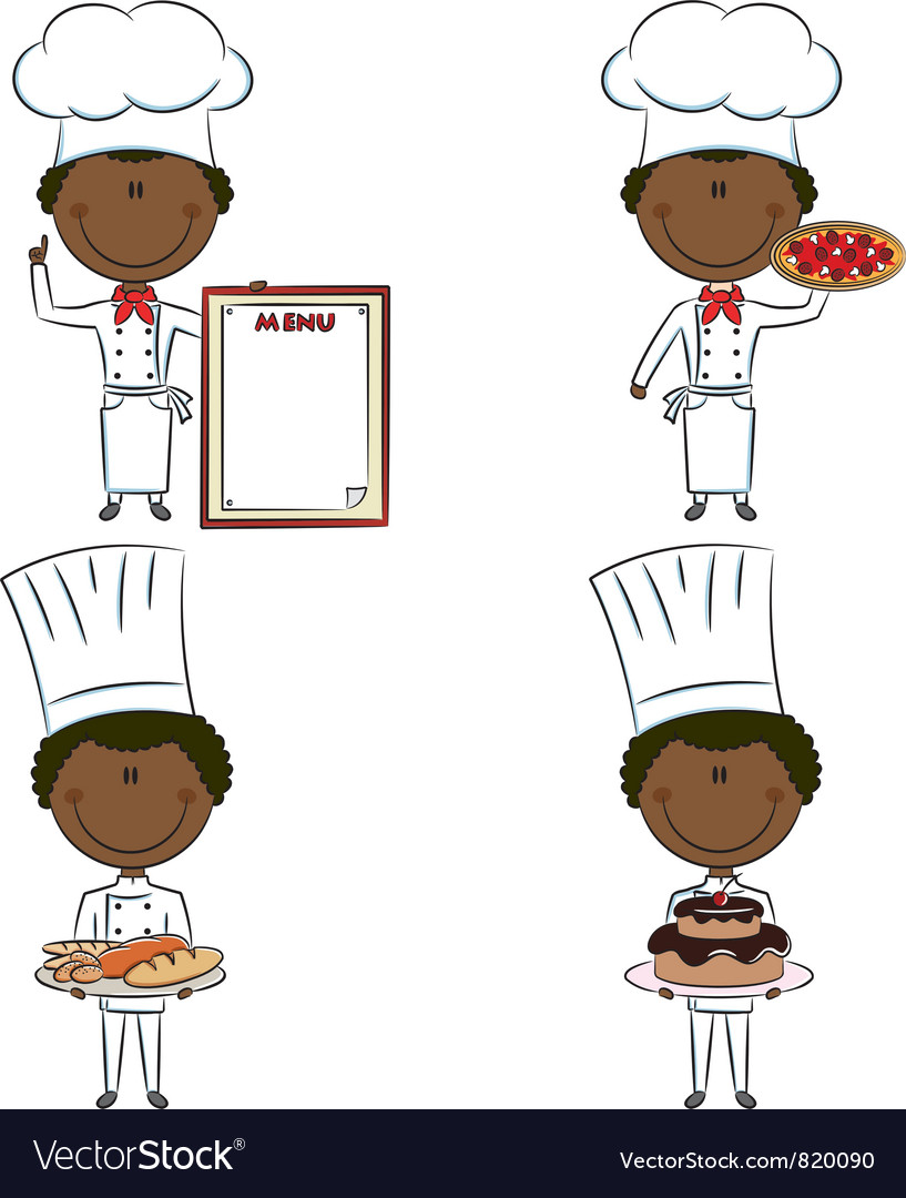 Smart cute african-american chef men vector | Price: 3 Credit (USD $3)