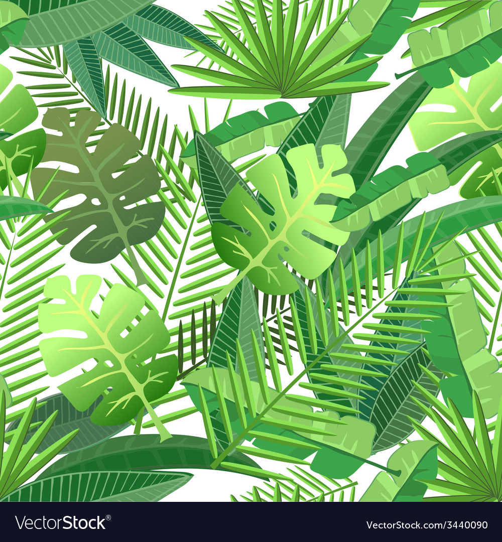 Tropical leaves seamless pattern vector | Price: 1 Credit (USD $1)