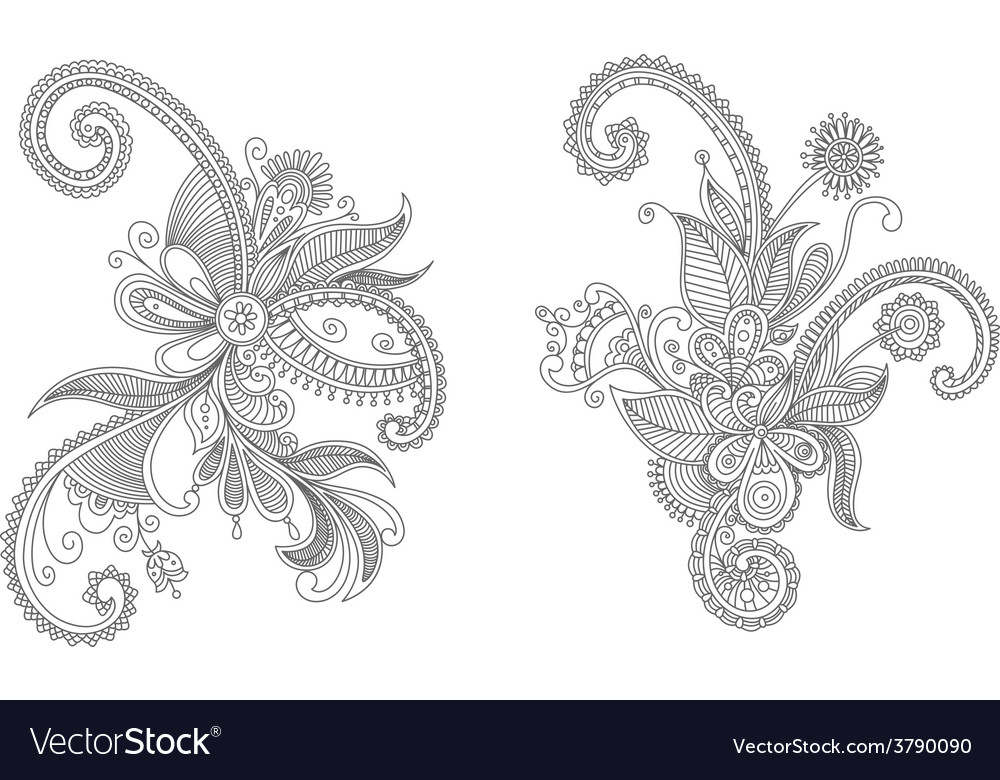 Two intricate swirling floral elements vector | Price: 1 Credit (USD $1)