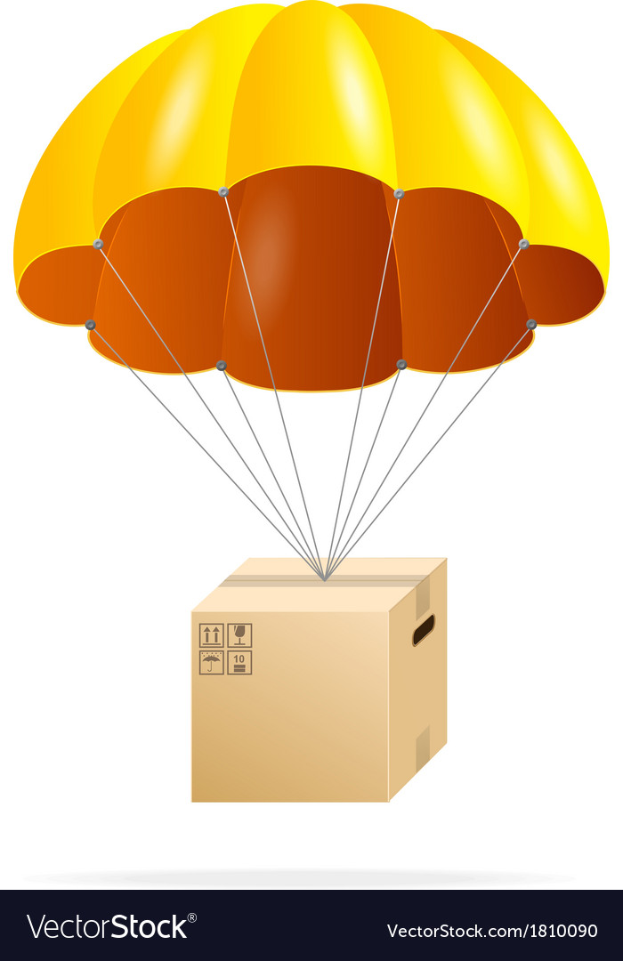 Yellow parachute with cardboard box on a white vector | Price: 1 Credit (USD $1)
