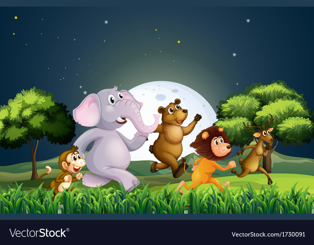 Animals walking in the middle of the night vector | Price: 3 Credit (USD $3)