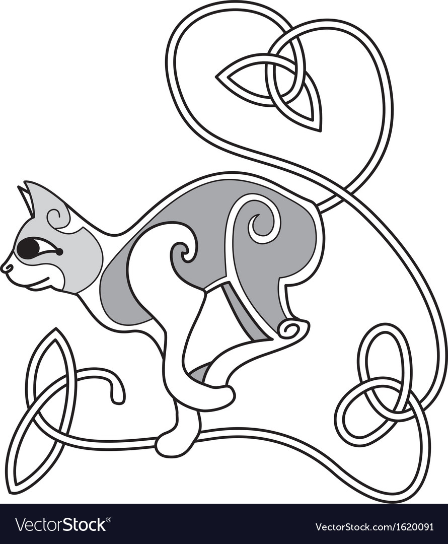 Celtic cat with heart knotted tail vector   Price: 1 Credit (USD $1)