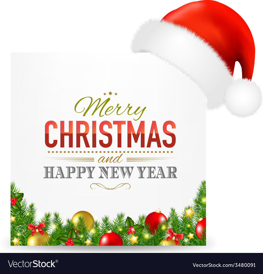 Christmas card with santa hat and text vector | Price: 1 Credit (USD $1)