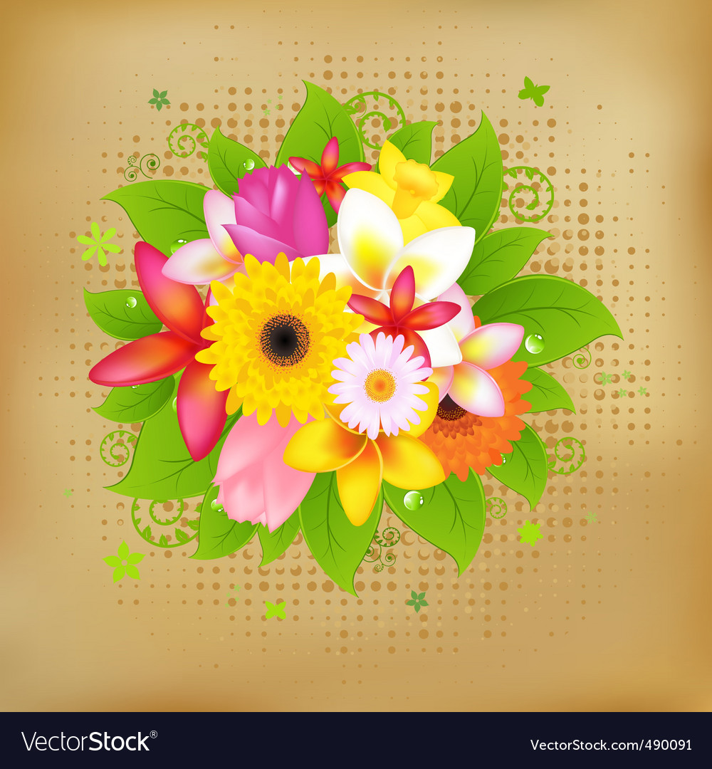 Flower background on vintage paper vector | Price: 1 Credit (USD $1)
