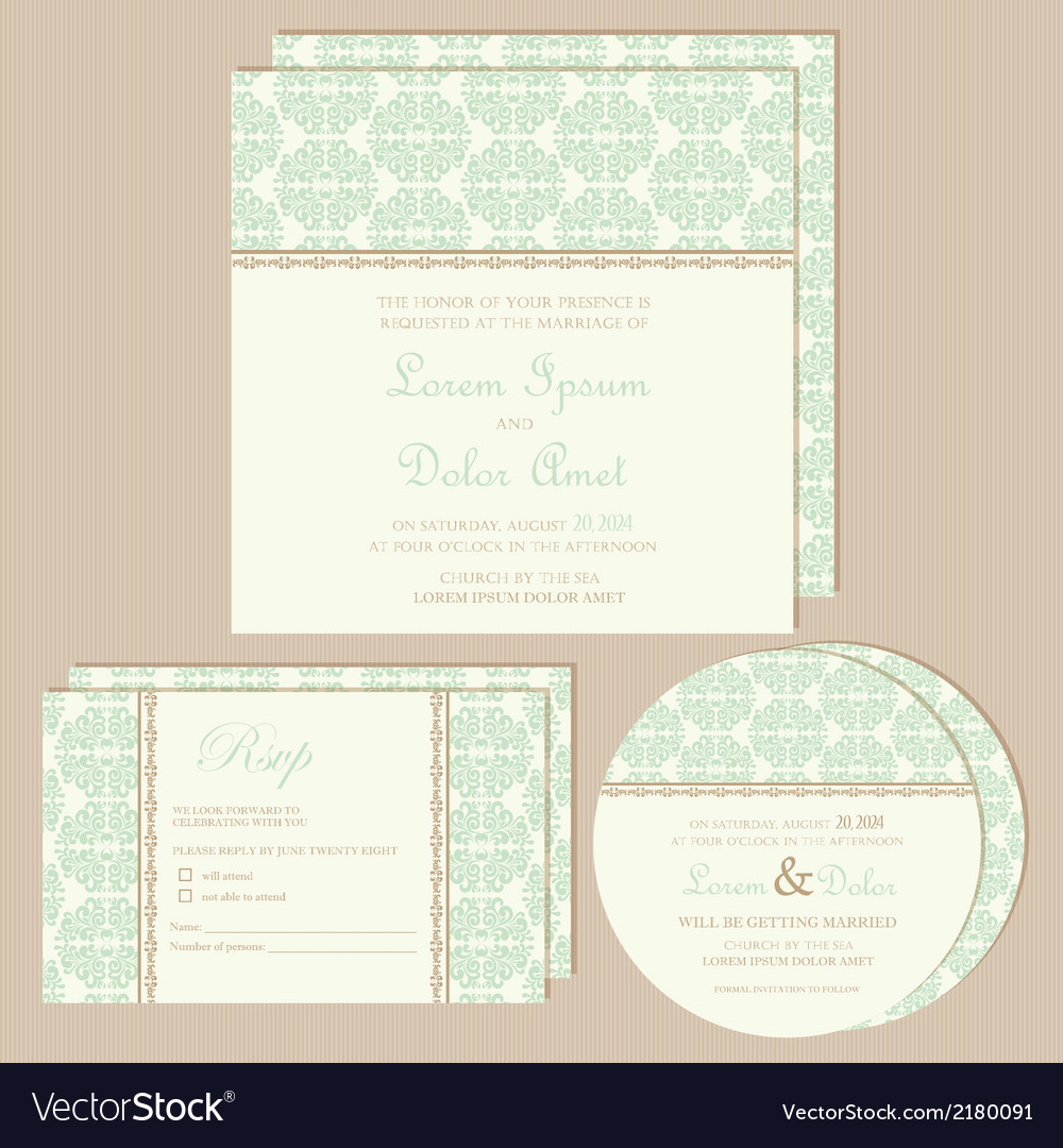 Green vintage wedding invitations set vector | Price: 1 Credit (USD $1)