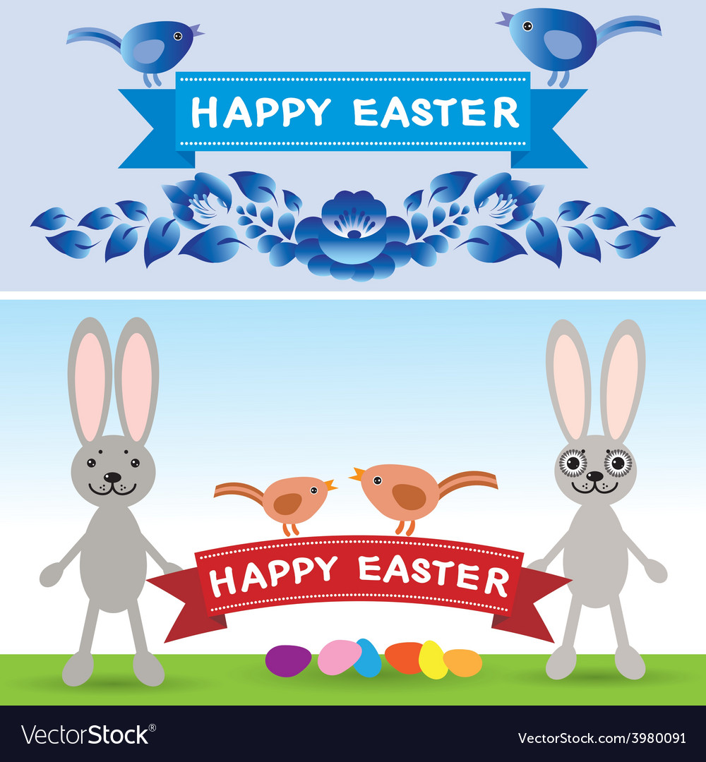 Happy easter rabbit eggs flowers ribbons vector | Price: 1 Credit (USD $1)