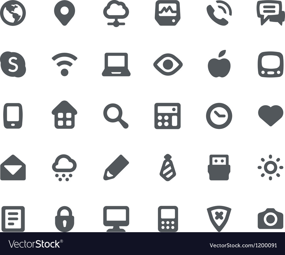 Media communication icons set vector | Price: 1 Credit (USD $1)