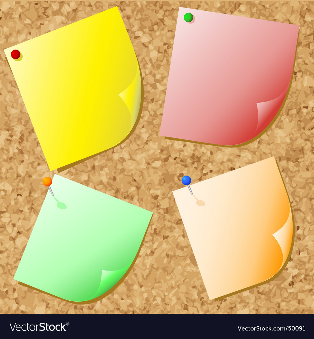 Post-its on cork vector | Price: 1 Credit (USD $1)