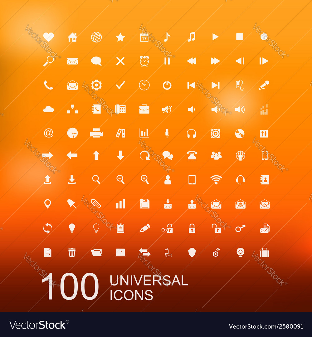 Set of 100 icons for web design vector | Price: 1 Credit (USD $1)