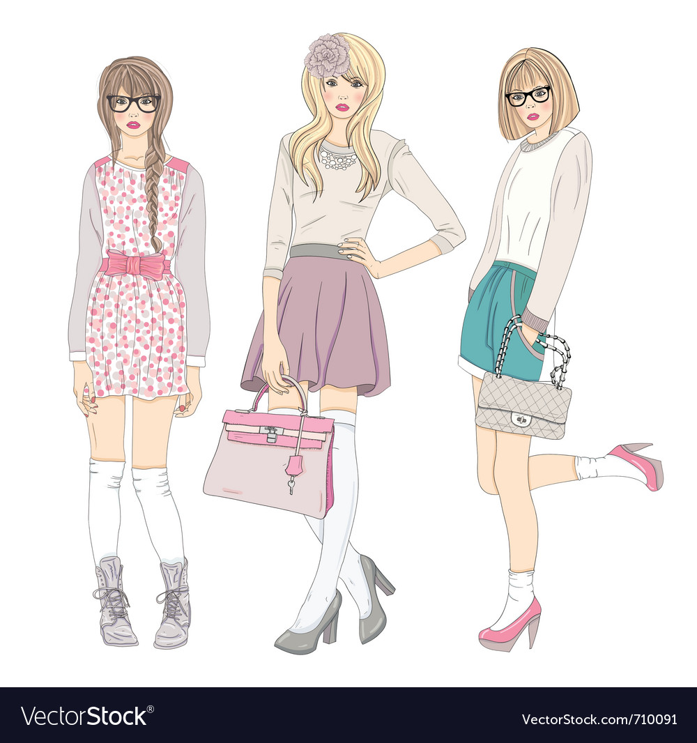 Young cute fashion teenager girls vector | Price: 5 Credit (USD $5)