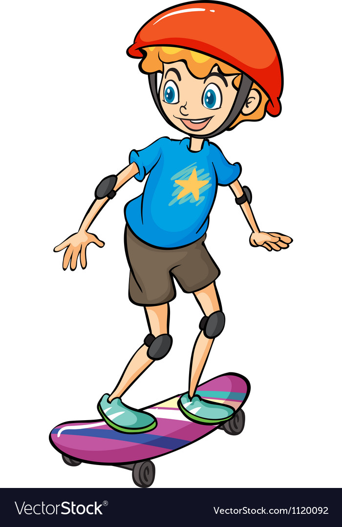 A boy playing skateboard vector | Price: 1 Credit (USD $1)