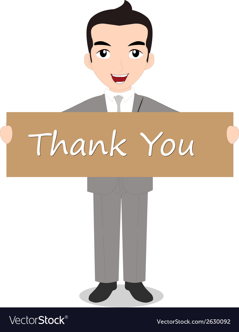 Businessman holding thank you note vector | Price: 1 Credit (USD $1)