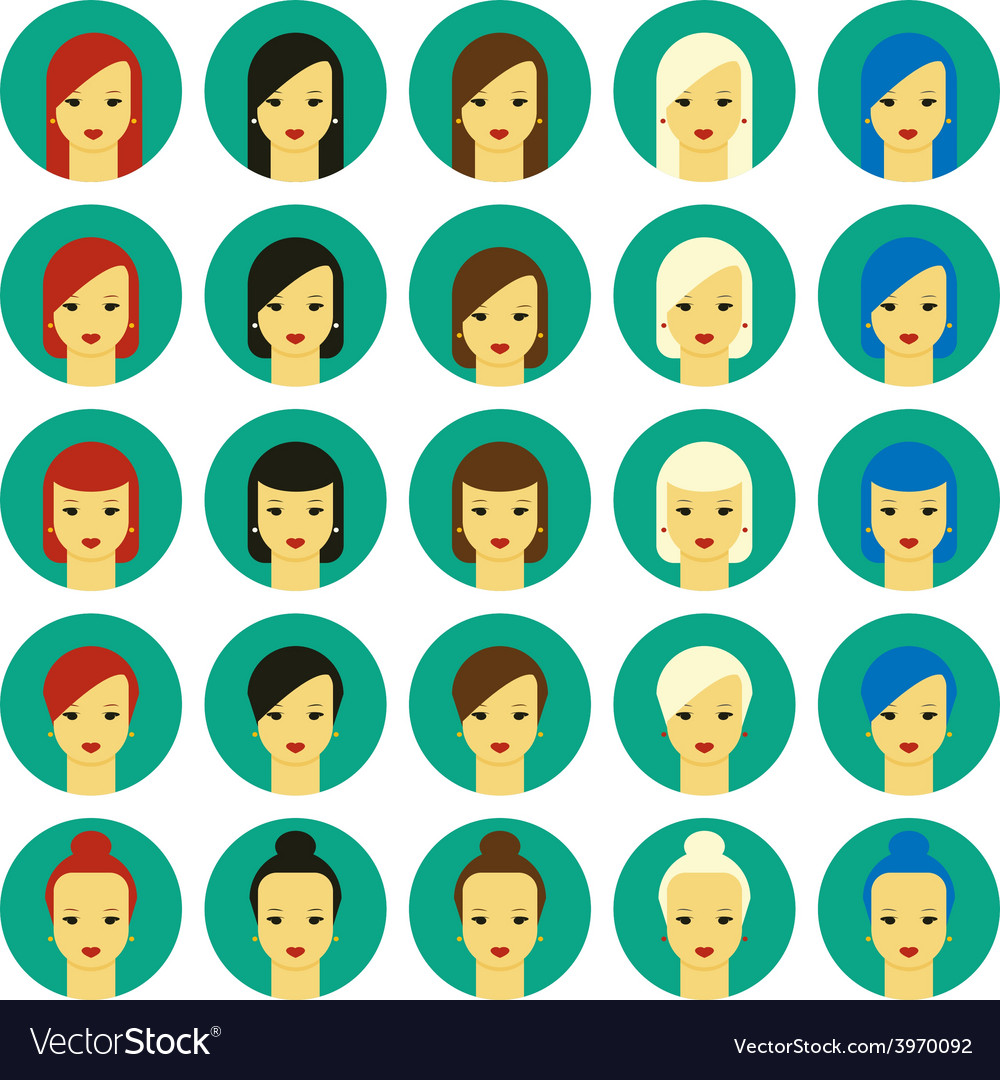 Girls with various hair styles vector | Price: 1 Credit (USD $1)