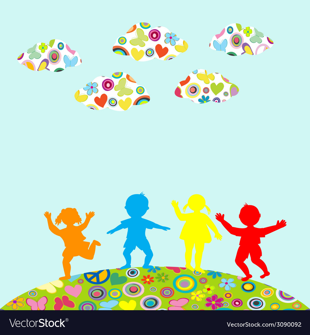 Hand drawn children silhouettes playing outdoor vector | Price: 1 Credit (USD $1)