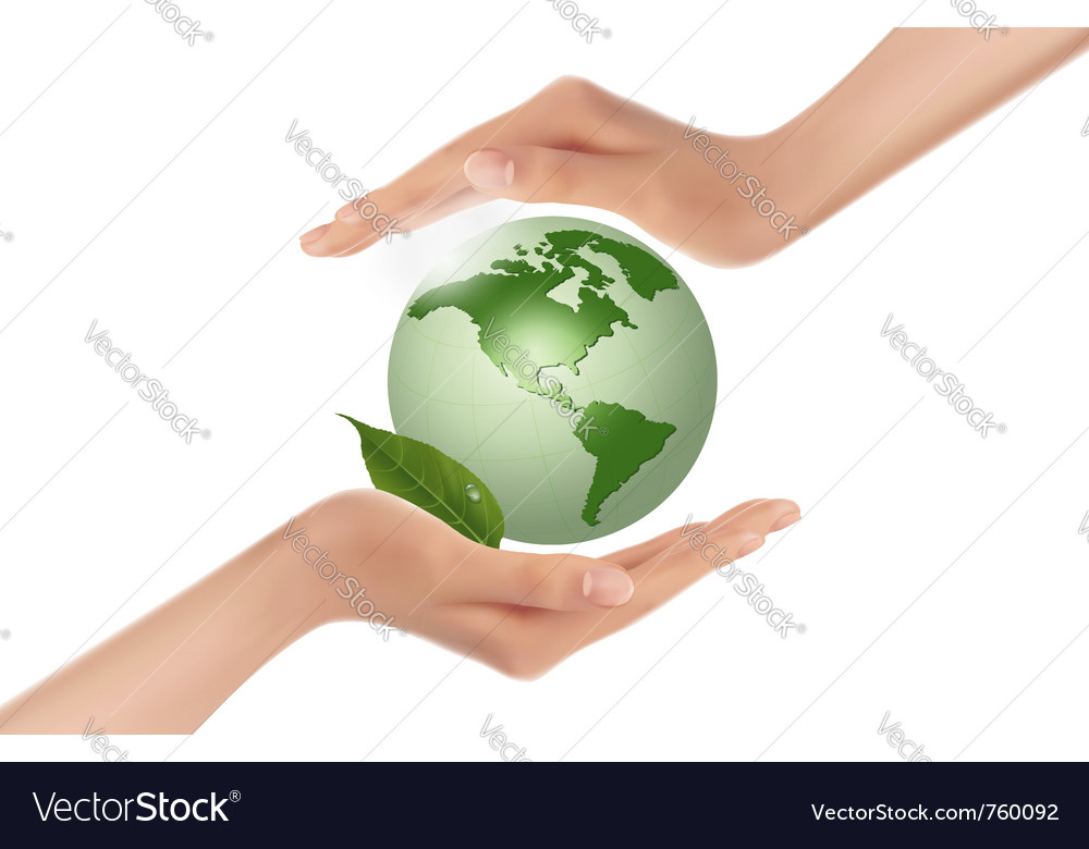 Hands holding green globe vector | Price: 3 Credit (USD $3)