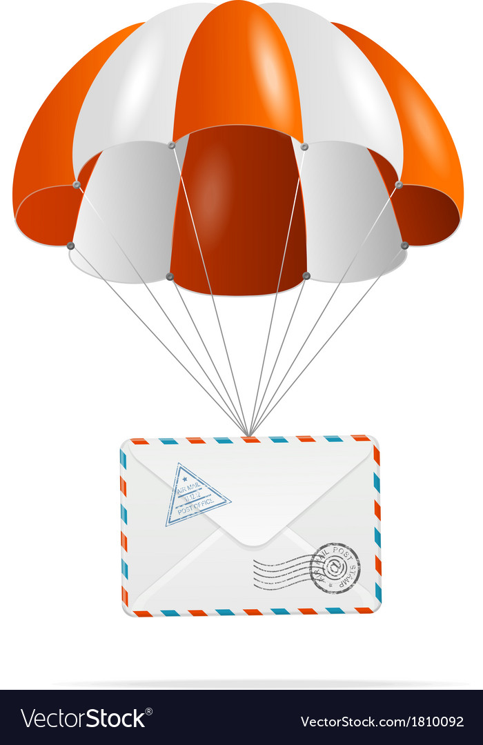 Mail delivery parachute vector | Price: 1 Credit (USD $1)