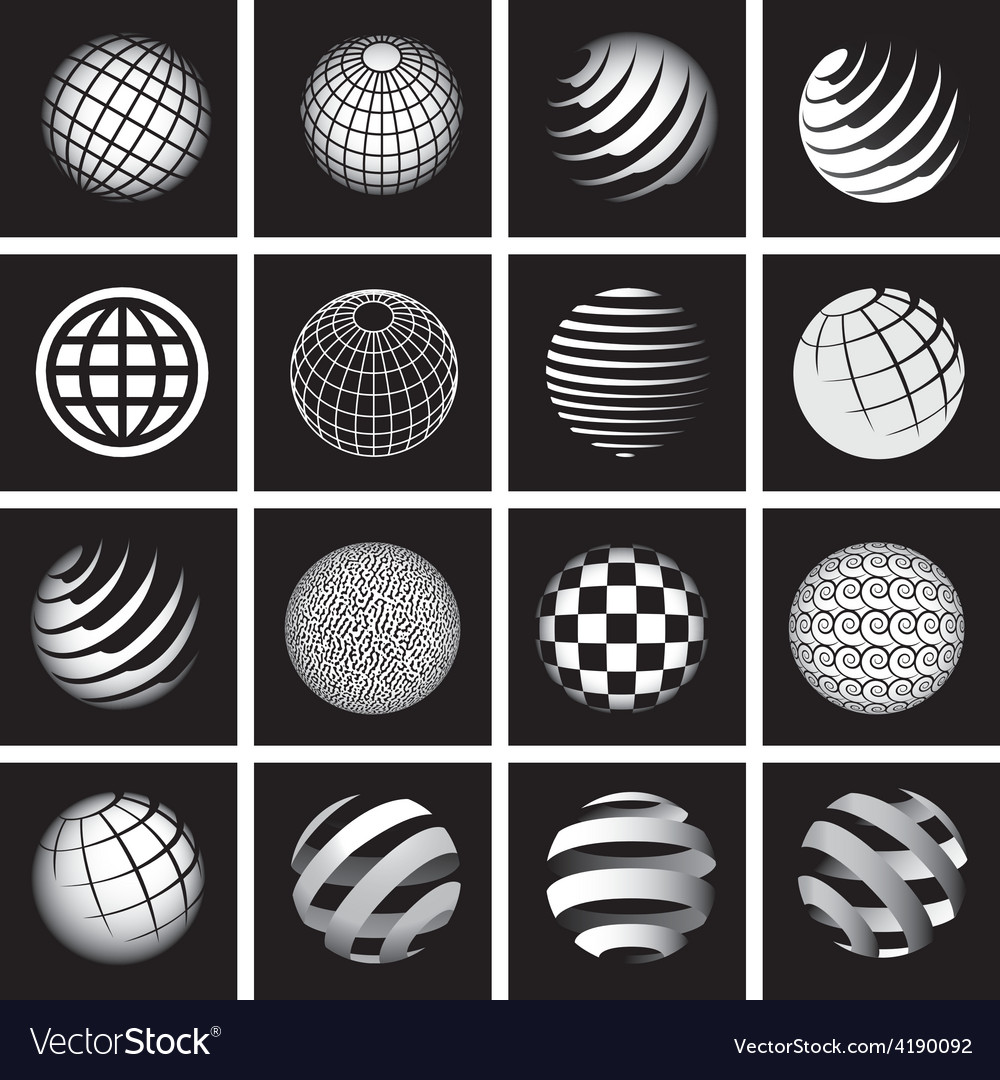 Sixteen globes in black and white vector | Price: 1 Credit (USD $1)