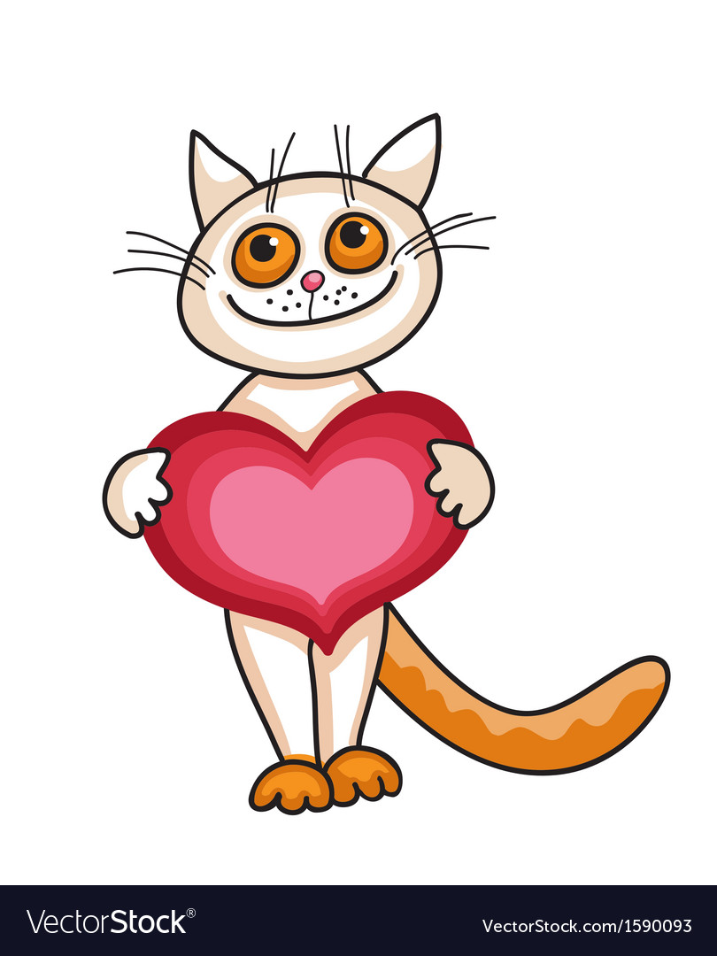 A cat with a big heart vector | Price: 1 Credit (USD $1)