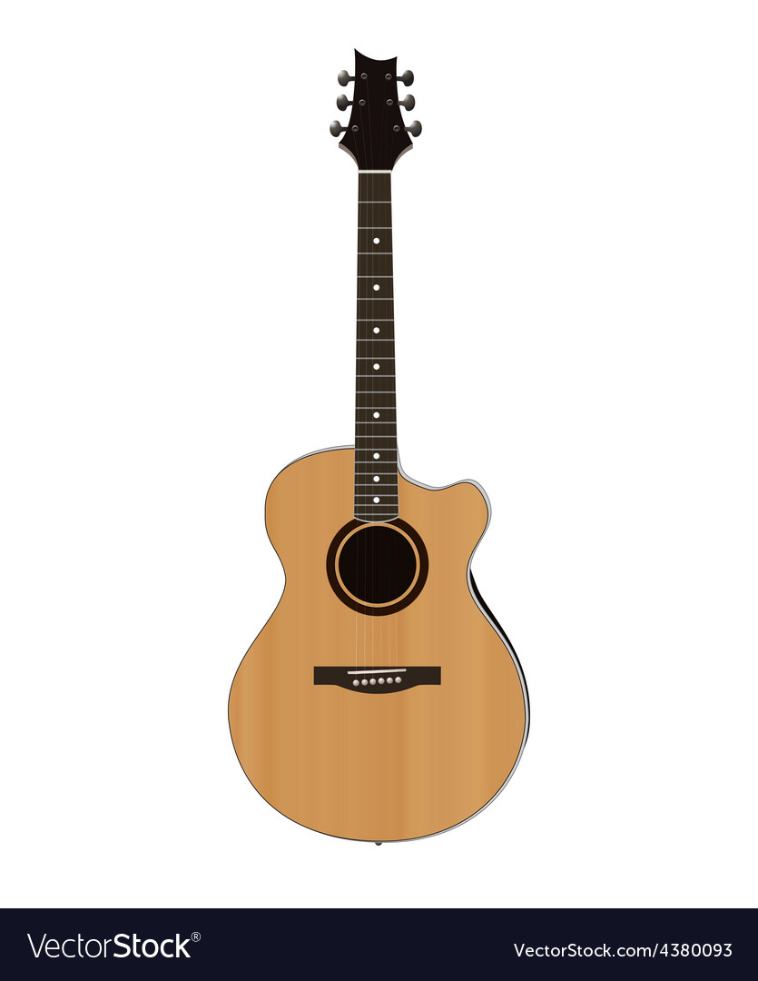Acoustic guitar on white background vector | Price: 1 Credit (USD $1)