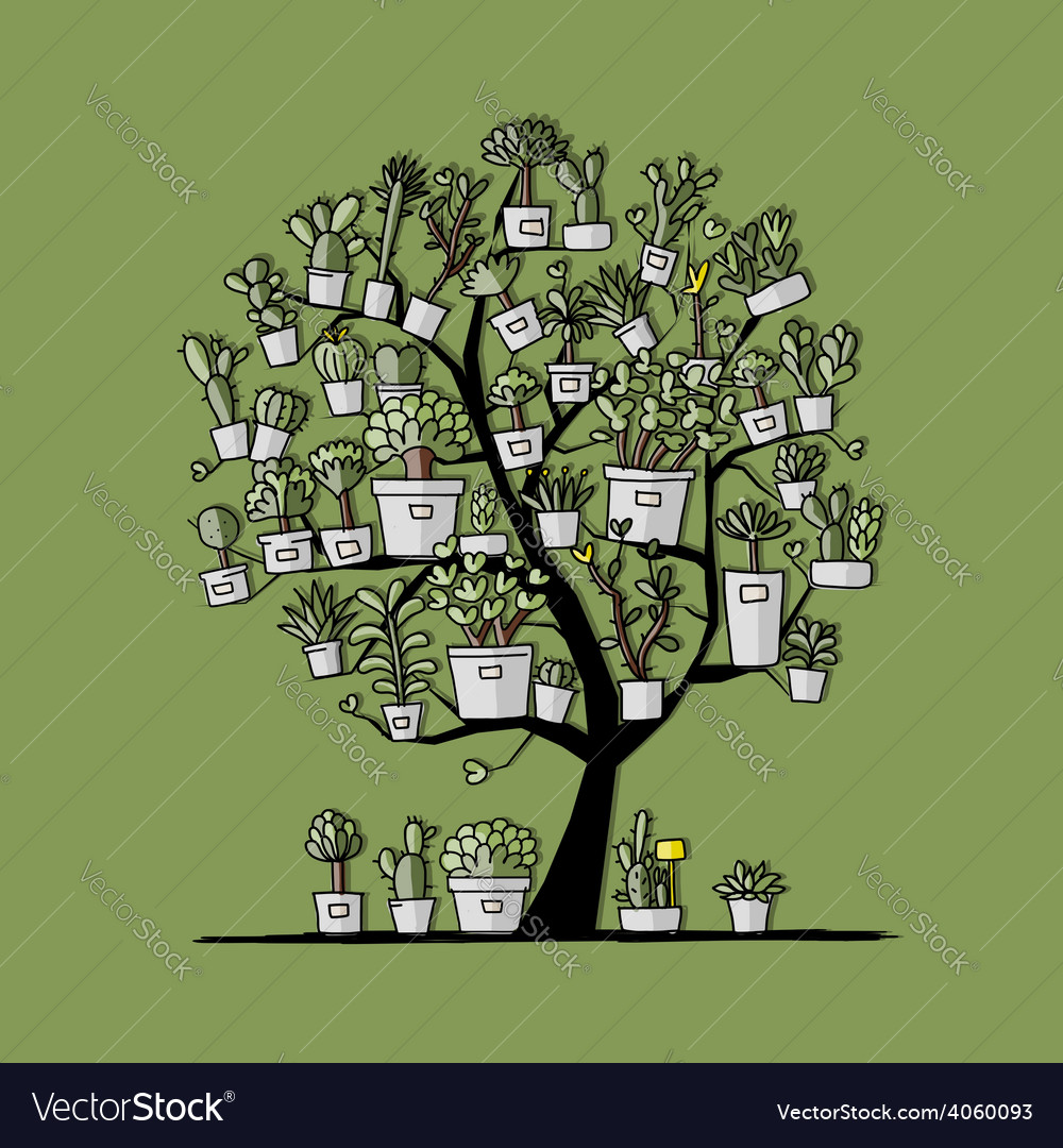 Art tree with plants in pots sketch for your vector | Price: 1 Credit (USD $1)