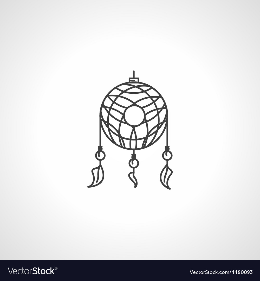 Black line dream catcher icon vector | Price: 1 Credit (USD $1)