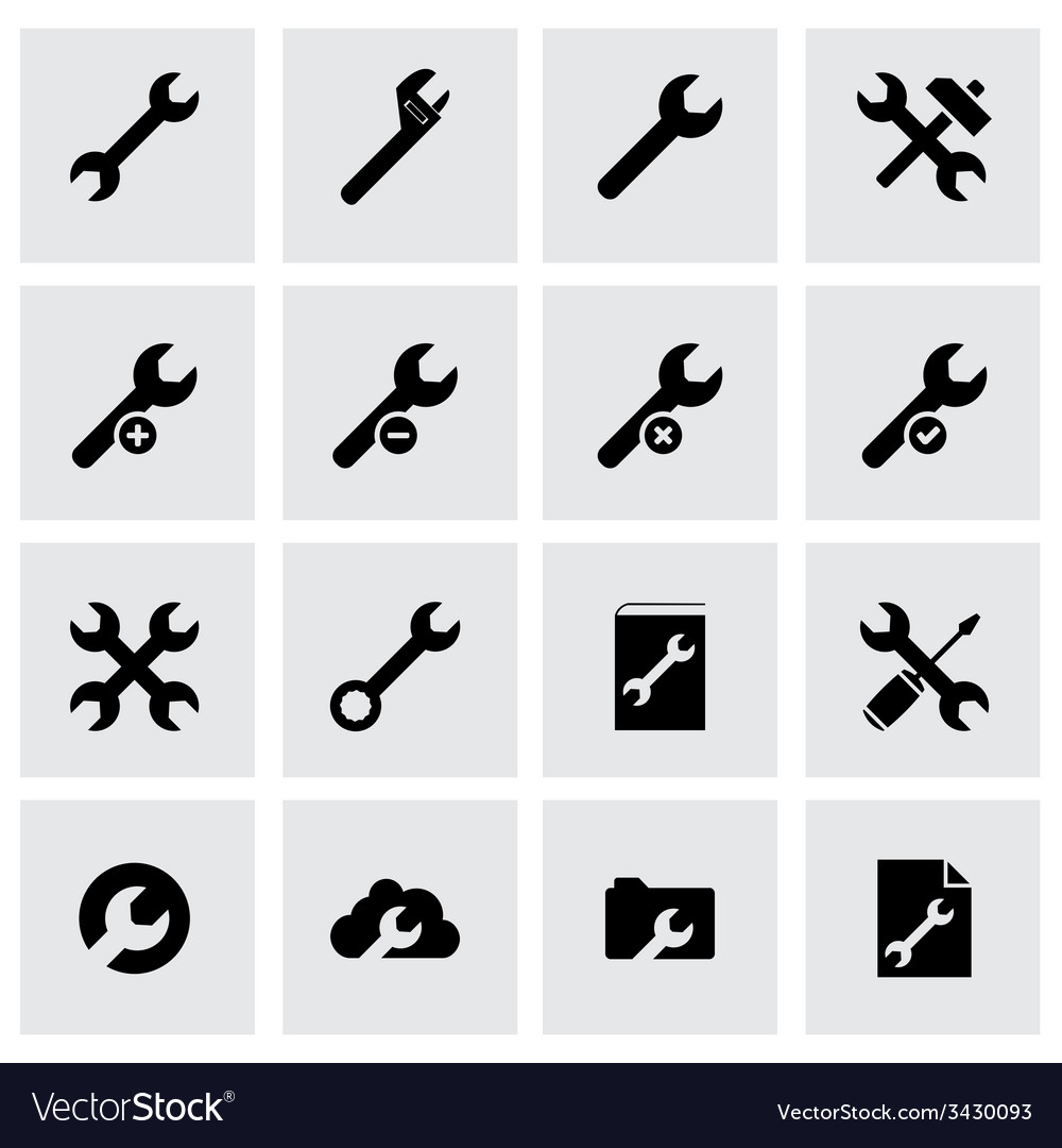 Black settings wrench icon set vector | Price: 1 Credit (USD $1)