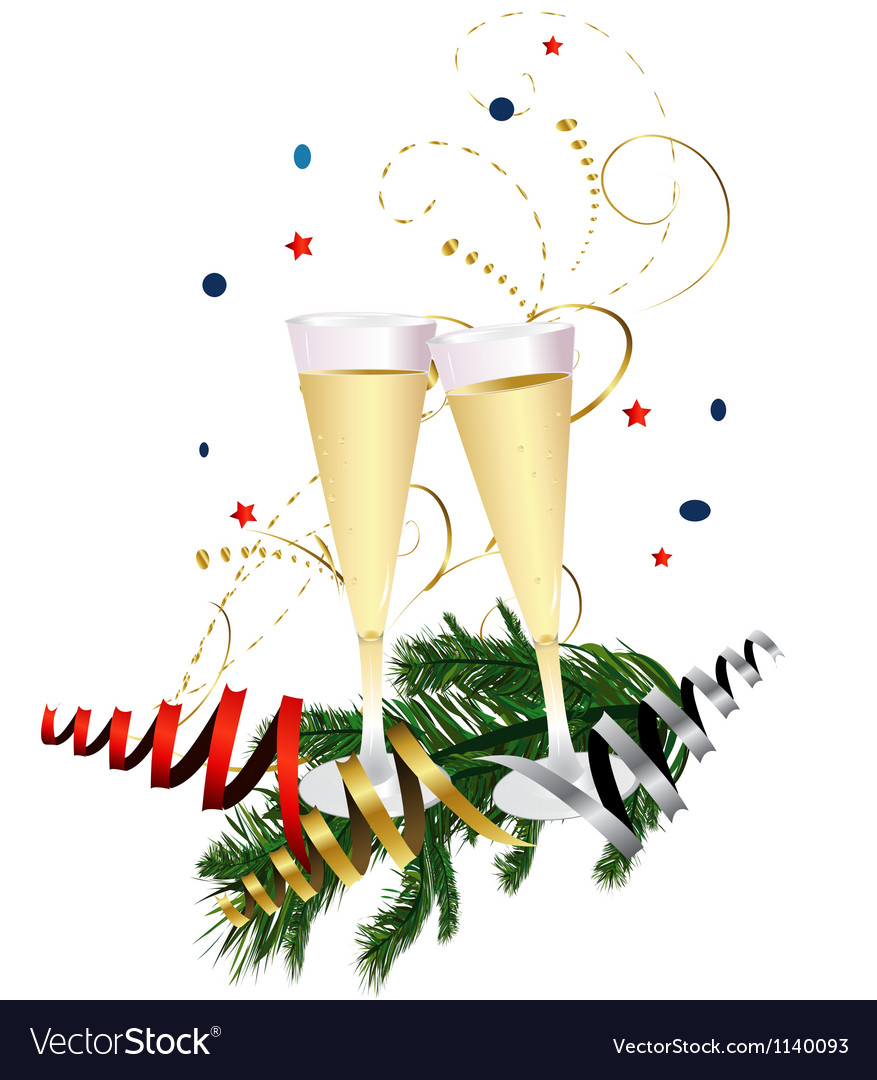 Champagne celebration glasses vector | Price: 1 Credit (USD $1)