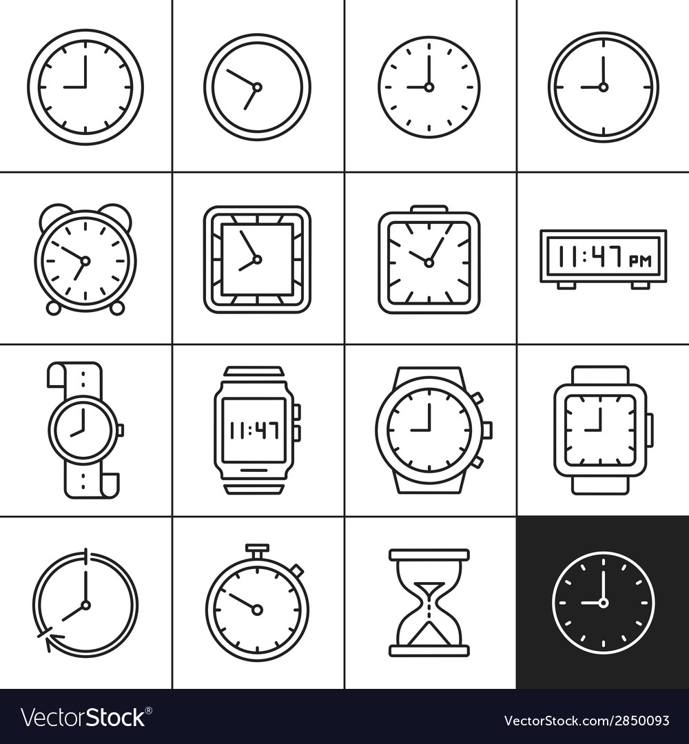 Clock and watch icons vector | Price: 1 Credit (USD $1)
