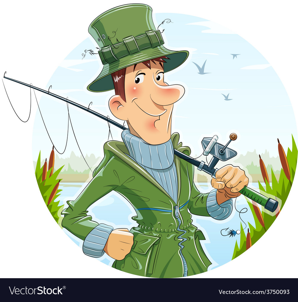 Fisherman with rod fishing vector   Price: 3 Credit (USD $3)